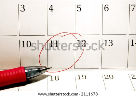 Calendar with circled date - stock photo