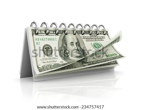 Calendar with dollar bills. - stock photo