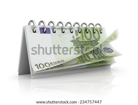 Calendar with euro bills. - stock photo