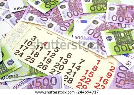 Calendar with Euro money  - stock photo