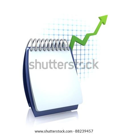 Calendar with Growing Chart - stock photo