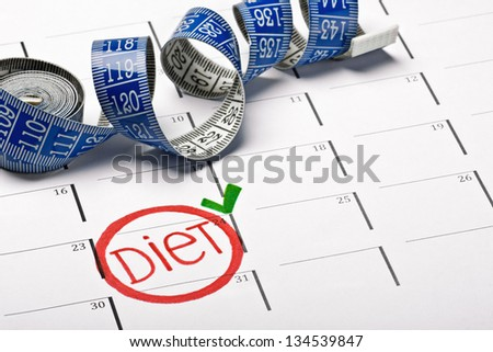 calendar with the date marked the beginning of a diet - stock photo