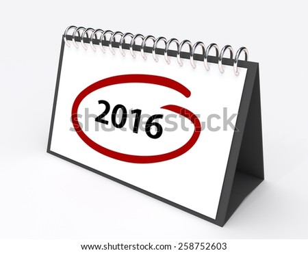 Calendar with the year 2016 circled in red - stock photo