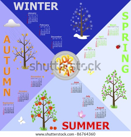Calendar 2012 with Trees-four seasons. American style. - stock photo