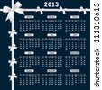 Calendar 2013 year with white bows on a dark background. Vector version also available. - stock photo