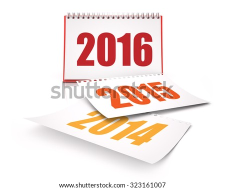 Calendars 2016 and 2015 and 2014 - stock photo