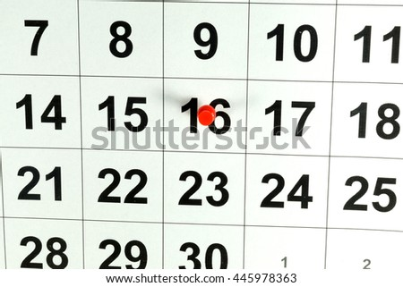 Calender and push pin  - stock photo