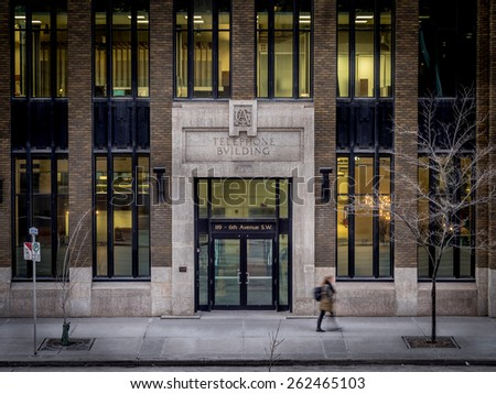 CALGARY, ALBERTA - FEB 23: The facade of the historic AGT Building on February 23, 2015 in Calgary, Alberta Canada. The AGT building is a recently renovated historic office building downtown.  - stock photo