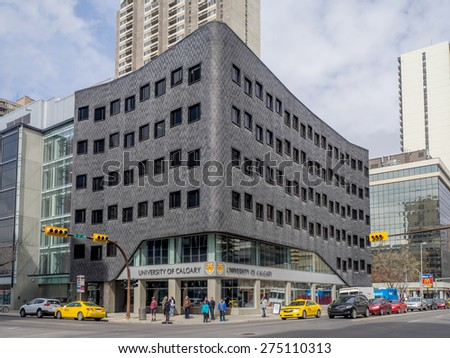 CALGARY, CANADA - APRIL 24: University of Calgary downtown campus on April 24, 2015 in Calgary, Alberta. This modern downtown campus building houses many professional development courses.  - stock photo