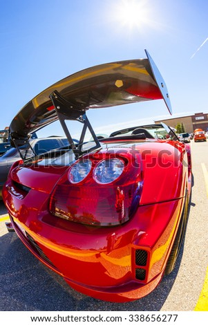 "CALGARY CANADA AUG 9 2015: ""Hot Import Nights"" car show , the show is a regular event held each year in Calgary and Vancouver, where specialized imported vehicles on display by the owners.  - stock photo"