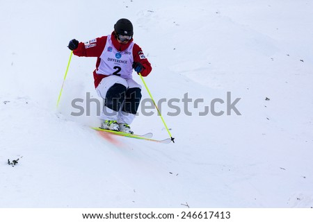 CALGARY CANADA JAN 2 2015. FIS Freestyle Ski World Cup, Winsport, Calgary Mr. Sho Endo from Japan at the Mogul Free Style World Cup on race day.  - stock photo