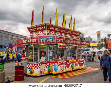 CALGARY, CANADA - JULY 9: Confection booth at the  the Calgary Stampede midway on July 9, 2016 in Calgary, Alberta. The Calgary Stampede is often called the greatest outdoor show on Earth. - stock photo