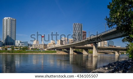 CALGARY, CANADA - JUNE 5: Calgary skyline from the East Village on June 5, 2016 in Calgary, Alberta Canada. The East Village area is large new residential development in central Calgary. - stock photo