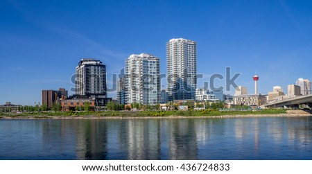 CALGARY, CANADA - JUNE 5: East Village skyline on June 5, 2016 in Calgary, Alberta Canada. The East Village area is large new residential and commercial development in central Calgary. - stock photo