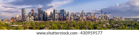 Calgary's skyline with the Bow River valley and city in the foreground. - stock photo