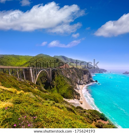 California Bixby bridge in Big Sur in Monterey County along State Route 1 US - stock photo