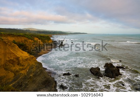 California coast before sunset - stock photo