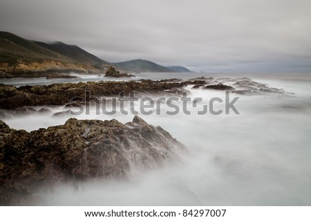 California Coast with silky water near Big Sur, California - stock photo