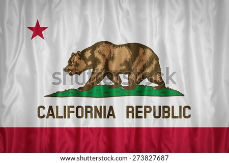 California flag pattern with a peace on fabric texture,retro vintage style - stock photo