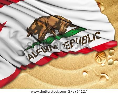 California Flag with sand - stock photo