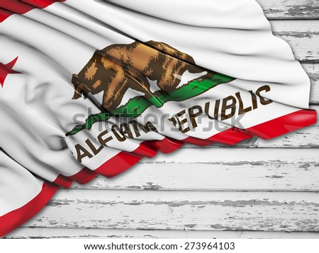 California Flag with wood - stock photo