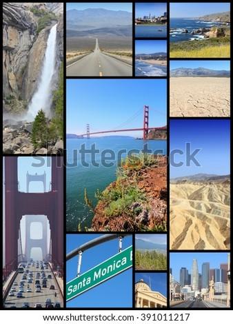 California landmark photos collage with Los Angeles, San Francisco, Sacramento, Death Valley, Yosemite and Pacific Coast. - stock photo