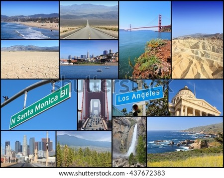 California landmark photos collage with Los Angeles, San Francisco, Sacramento, Death Valley, Yosemite and Pacific Coast. - stock photo