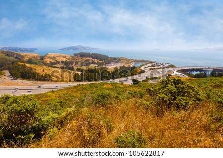 California landscape overlooking San Francisco Bay - stock photo