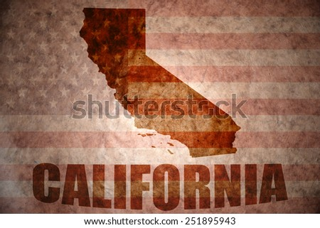 california map on a vintage american flag background - stock photo