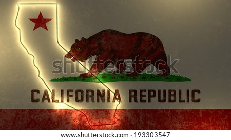 california outline map on flag backdrop - stock photo