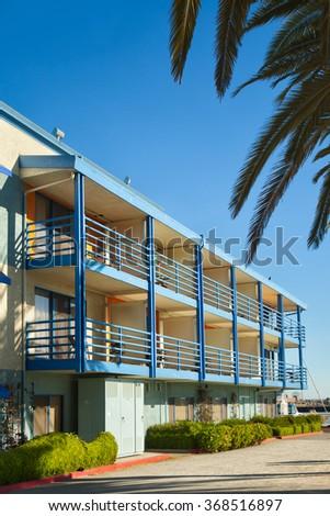 California retro typical 1950s beach motel architecture - stock photo