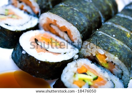 california roll close-up - stock photo
