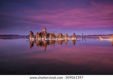 California's Mono Lake at dusk - stock photo