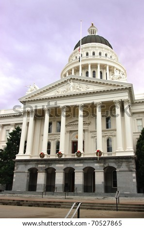 California State Capitol building during winter. - stock photo