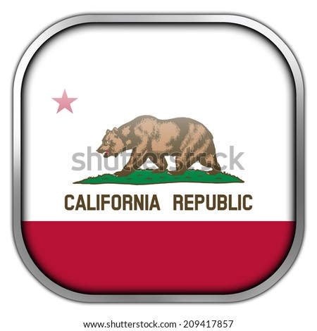 California State Flag square glossy button - stock photo
