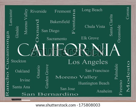 California State Word Cloud Concept on a Blackboard with about the 30 largest cities in the state such as Los Angeles, San Diego, Sacramento and more. - stock photo