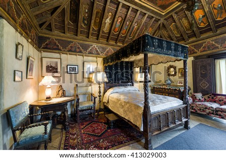 California, USA, 09 Jun 2013: Beautiful and luxurious bedroom with intricate carvings and designs at Hearst Castle, which is a National and California Historical Landmark opened for public tours. - stock photo
