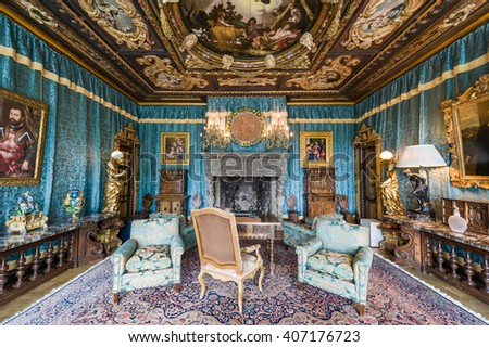 California, USA, 09 Jun 2013: Living room with breathtaking details and decorated with antiques at Hearst Castle, which is a California Historical Landmark opened for public tours. - stock photo