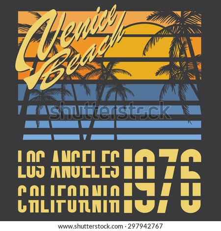 California Venive beach typography, t-shirt Printing design, Summer  Badge Applique Label, raster. - stock photo