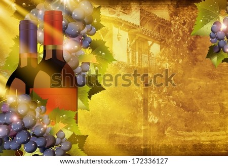 California Vineyards Abstract Illustration. Two Bottle of Wine, Grapes, Summer Sun Rays and Sunny California Background - stock photo