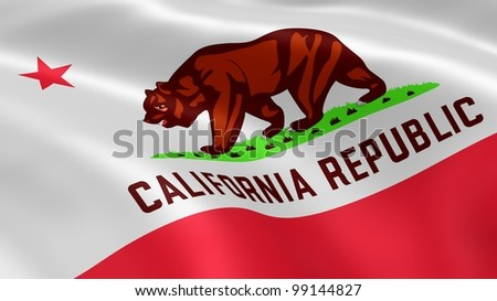Californian flag in the wind. - stock photo