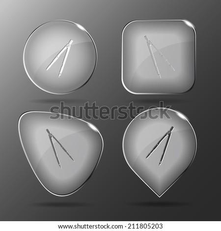 Caliper. Glass buttons. Raster illustration. - stock photo