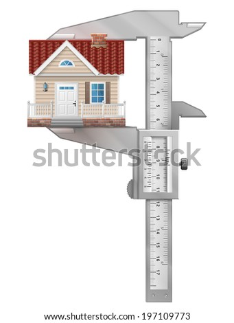 Caliper measures house. Concept of home symbol and measuring tool. Qualitative illustration about architecture, building, real estate, construction, development, housing, etc - stock photo