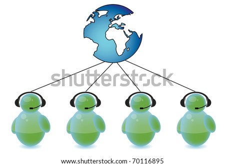 Call center connected to the world - stock photo