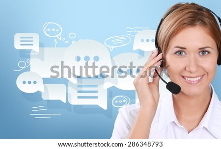 Call Center, Customer Service Representative, Service. - stock photo