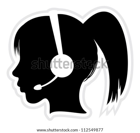 call center executive icon - stock photo