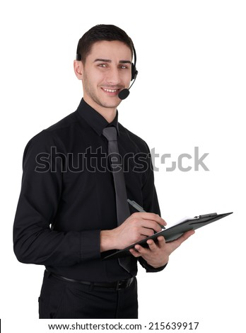 Call Center Man with Headset and Clipboard Isolated on White - Young man with headset and clipboard isolated on a white background   - stock photo