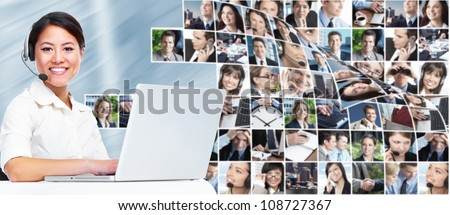 Call center operator business woman with laptop computer. - stock photo