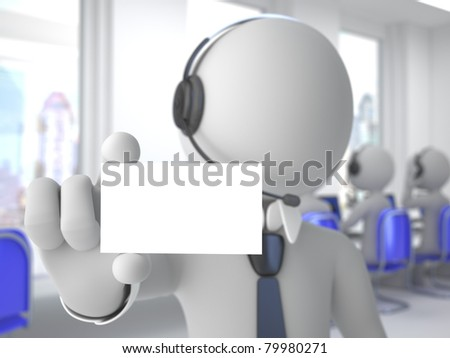 Call center operator with headphones and microphone showing a blank card - stock photo
