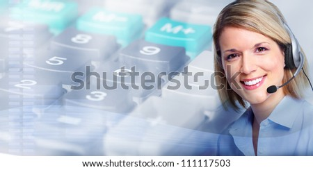 Call center operator woman. Business background. - stock photo